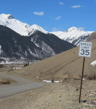 Mark Esper/Silverton Standard The San Juan County commissioners voted 2-1 to lower the speed limit of this paved section of County Road 2 from 35 mph to 20 mph.