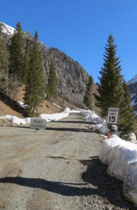 Mark Esper/Silverton Standard County Road 2 is closed at Eureka on Monday, April 27, as San Juan County discourages visitors due to the COVID-19 pandemic.